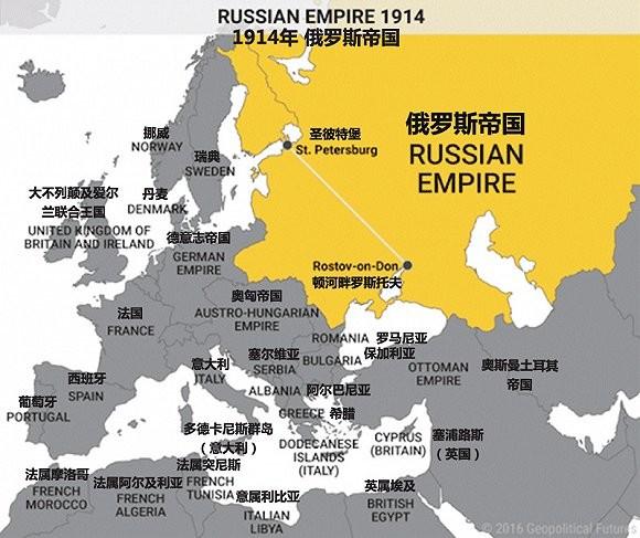 俄罗斯国家战略自然是想将边界尽可能地往西边移。这样一来,欧洲半岛东部边界的一线国家——波罗的海三国、白俄罗斯及乌克兰——就成了俄罗斯的御敌屏障,同时也带来了额外的经济机遇。 再来看看1914年一战伊始,俄罗斯帝国的地理位置。上述欧洲半岛东部边界的一线国家都已被俄国占领,部分如现在的波兰与罗马尼亚等二线边界国家也成为了俄国领地的一部分。俄国所控制的波兰大部分地区均具有重要战略意义。 1914年,该深度缓冲地带协助俄国成功抵御德意志帝国及奥匈帝国的进攻。直至1